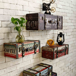 Vintage Pu Lage Leather Suitcase Painting Ktv Bar Decorative Painting Wall Decoration Y19061804