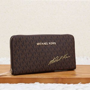 Wholesale Fashion Women wallet new hand held wallet simple retro zipper pur purse color metal letter multi layer long wallet