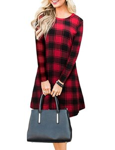 bufflo plaid Women dress Casual red black Plaid Printed 3 4 Sleeve Round Neck Ladies Simple Loose Dress shirts