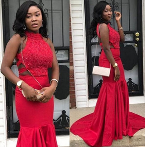 2019 real Pretty red African Lace crystal South African 2k18 Prom Dress Mermaid Long Halter Banquet Evening Party Gown Custom Made Plus Size on Sale