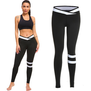 Wholesale Women White Striped Patchwork V Waist Fitness Leggings Casual Workout Sports Pants Stretch Trousers Jeggings Skinny Leggings