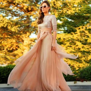 New Bateau Sequins Top Half Sleeves Long A Line Tulle Prom Dresses Vestidos Longo Saudi Arabia Ruffle Empire Evening Gowns Party Dresses on Sale