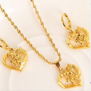 Wholesale Fashion k Fine Real Gold GF Dubai Romantic Heart love rose Pendant Necklace Earrings Sets Wedding PNG Jewelry Sets for women