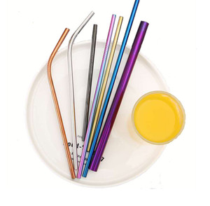 New Durable Stainless Steel Drinking Straw Curve Bent Straight Colorful Metal Straws Siutable For Beer Fruit Juice Drink kitchen accessories