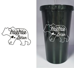 Wholesale MAMA bear plastic Tumbler with Straw oz Black Juice Bottle Mommy Mom love Custom make