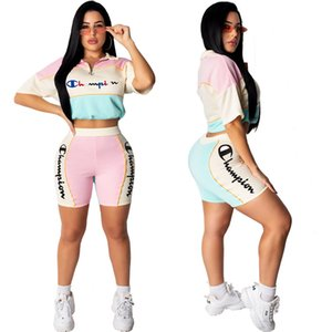 Wholesale Women Champion Embroidered Letters Shorts Set Patchwork Designer Tracksuits Zipper Collar Crop T shirts Shorts Brand Piece Outfit C62402