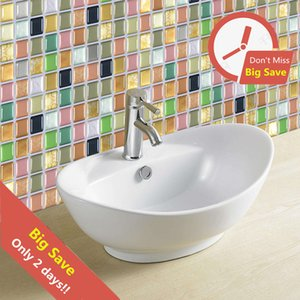 Wholesale 10pcs d Mosaic Waterproof Stickers For Bathroom Kitchen Backsplash Self Adhesive Home Wall Renovation Tile Brick Wallpaper Q190522