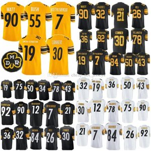 Wholesale 55 Devin Bush 2019 Jerseys 19 Juju Smith-Schuster Pittsburgh 90 T.J. Watt Steelers 30 James Conner 78 Villanueva 7 Roethlisberger New