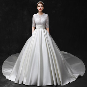 New long-tailed bride wedding dress, retro court satin wedding dress with medium sleeves. on Sale