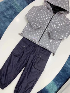 New Children Boys Jacket 2019 Baseball Hoodies Silver Coat pants Reflective Long Sleeve Outerwear Windbreaker on Sale