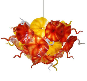 Wholesale now chains for sale - Group buy Now Trending Flower Plates Chandelier Lighting Orange Yellow Design Hand Blown Glass Chain LED Light Fixture Chandelier