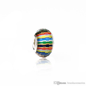 Multicolor Stripe Murano Hole Beads 925 Silver Thread Lampwork Glass Charms Fit Pandora Bracelets Necklace Jewelry Accessories PDZ16