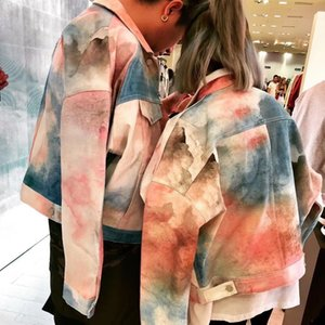 Wholesale Iridescent Cloud Rendering Los Angeles Coloured Drawing Or Pattern Loose Coat Men And Women Sunset Glow Rendering Cowboy Jacket