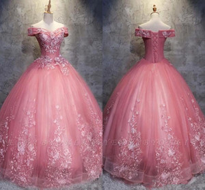 Wholesale Real Image Off Shoulder Quinceanera Prom Dress 2019 Watermelon Puffy Ball Gown Plus Size Formal Party Gowns robe de soiree vestidos gala