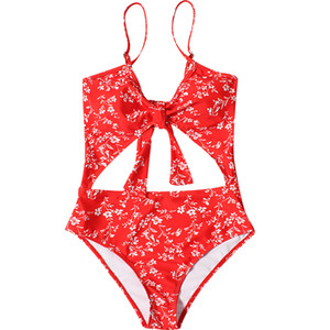Wholesale Red Blue Yellow Floral Print One Piece Swimsuit Women Cut Out Tie Swimwear Push Up Slim Monokini Halter Girl Bathing Suit