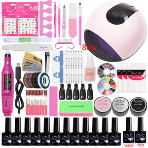Wholesale electric tool sets for sale - Group buy Manicure Set Acrylic Nail Kit Color w w LED UV Lamp RPM Electric Manicure Machine Tools Gel Nail Polish Set