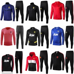 Wholesale 19 20 manchester training suit men Lukaku RASHFORD football jacket sportswear blue foot jogging 2019 POGBA United Soccer Tracksuit