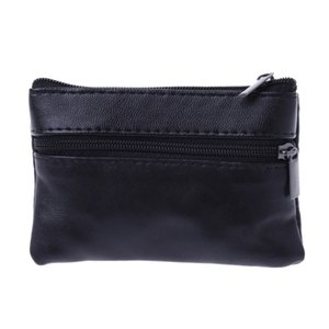 Wholesale Men Women Card Coin Key Soft Holder Zip Leather Wallet Pouch Bag Purse Gift New Fashion Black Mini Coin Holders #32221