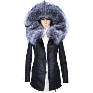 Wholesale 2017 Winter Jacket Women Thick Artificial Coats Fashion Slim Faux Suede Leather Female Models Artificial Fox Fur Collar Outwear