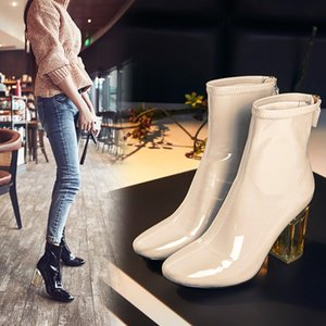 Hot Sale-Top Design Brand Nude Color Patent Leather Boots For Women High Heels Short Ankle Boots Transparent Crystal Heels Party Boots