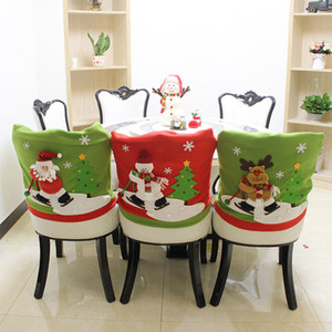 Wholesale Skidding Santa Christmas Chair Cover Santa Claus Cap Dinner Table Party Red Hat Chair Back Covers For Christmas Decor
