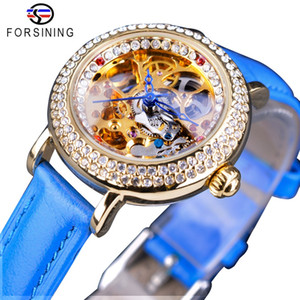 mode damenuhr blume großhandel-Forsining Fashion Blue Lady Diamant Goldblumen Bewegung Transparent Kleine Dame Frauen Mechanische Skeleton Uhr Spitzenmarken Luxus