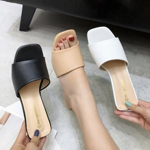 Sexy2019 Chic Recommend All-match Cool Solid Color Skin Photosensitive Edition Pu Woman Slipper