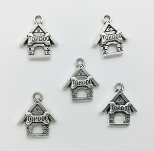 Wholesale Dog House Charms Pendants Retro Jewelry Accessories DIY Antique silver Pendant For Bracelet Earrings Keychain mm