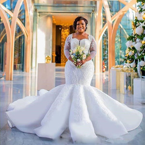 Wholesale Plus size Long Sleeves Mermaid Wedding Dress Custom South African Bride Maxi Gowns for Fat Bridal within Train Lace Appliques Wedding Gowns