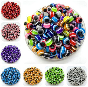 Wholesale 1000PCS Mixed Colorful Beads Round Evil Resin Eye Beads Stripe Spacer Beads Jewelry Fashion DIY Bracelet Making Gifts
