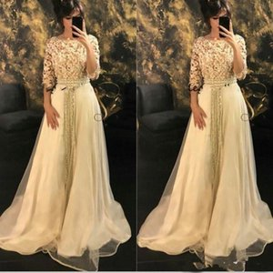 Wholesale Modest Half Sleeve Long Formal Evening Dresses Morrocco Jellaba Caftan 3D Flowers Prom Party Gowns African Caftan Wear Custom Size