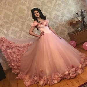 Wholesale Princess Long Formal Evening Gowns Off The Shoulder Appliques Flowers Long Lace Quinceanera Vestidos Custom Made Prom Dresses