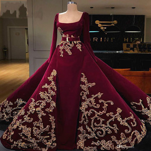 Wholesale Dark Red Evening Dress With Detachable Train Long Sleeves Appliqued Beaded Belt Formal Party Gowns Custom Made Prom Dresses