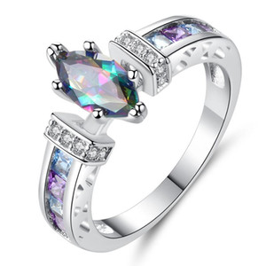 бесплатный пасьянс оптовых-designer jewelry marquise colorful rings rhombus shape solitaire rings for women simple classic hot fashion free of shipping