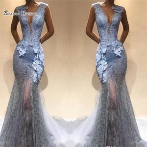 2019 Mermaid Prom Dresses Sexy Deep V Neck Lace Appliques Evening Maxi Dress Illusion Party Gowns on Sale
