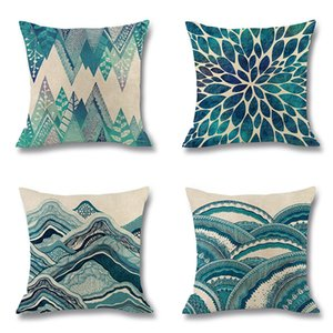 Wholesale 4 TYPE Ocean Wave Pattern Bed Cushion Cover Single Double Side Printing Car Pillowcase Peach Skin Sofa Pillow Case Covers 45*45cm