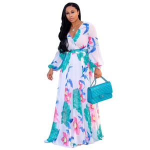 Wholesale Vintage Women Maxi Dress Floral Printed Plus Size Long Sleeves V Neck Chiffon Loose Robe Dresses Beach Vestidos New