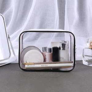 Wholesale 1 Thick Transparent PVC Cosmetic Bag Waterproof Zipper Travel Makeup Bags Organizer Portable Toiletry Wash Bag Handbags Case