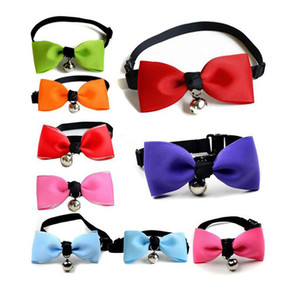 Wholesale chirstmas ornament resale online - Adjustable Pet Bow Tie Puppy Kitten Bells Necktie Small Dog Bowtie Collar Cute Collars Leashes Pet Ornaments Designs Bulk Stock LQPYW1170