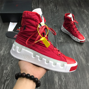 Wholesale 2019 New Y3 Bashyo High Top Womens Mens Sneakers Triple Black White Red High Quality Boots Trainers Running Shoes Designer Y running shoes