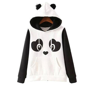 Wholesale S xl Cute Cotton Blended Women S Panda Fleece Pullover Hoodie Sweatshirts Hooded Coat Tops Hot Newest