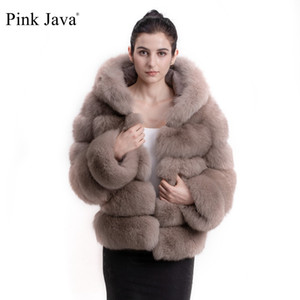 Wholesale Pink Java QC8143 new arrival women winter thick fur coat real fox fur jacket with hood stand collar outfit hoodies fox