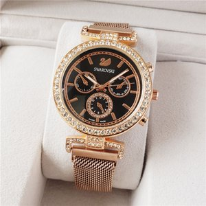 luxury HOT high quality famous top watch swarovski men's and women's watches steel belt gold men's sports brand watch ladies gift free ship