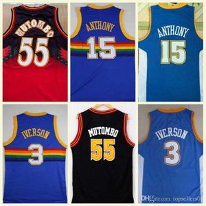 Wholesale NCAA Best Quality 55 Dikembe Mutombo Jerseys 15 Carmelo Anthony 3 Allen Iverson Blue College Dikembe Mutombo Basketball Jerseys Movie