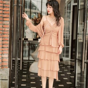 Wholesale Best Quality Series Two Piece Set Women French Style Peach Pink Knit Coat Sexy Spaghetti Strap Layered Dress