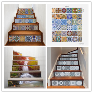 Wholesale 6pcs Ceramic Tile Pattern Stair Stickers DIY Creative Stairway Stickers Self Adhesive Waterproof Stickers Kitchen Ceramic Sticker Home Decor