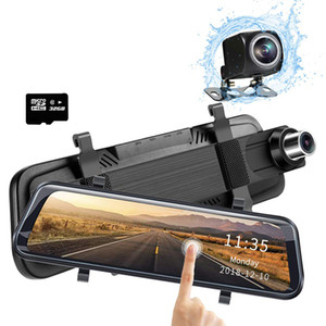 10 inch Car DVR Rear View Mirror Streaming Media Driving Camcorders Night Vision 1080P Dual Lens Video Recorder With 32GB Micro SD Card on Sale