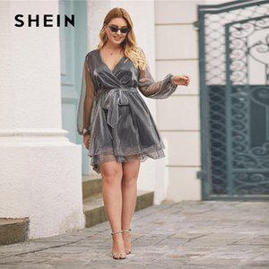Wholesale SHEIN Plus Size Grey Surplice Wrap Belted Metallic Organza Dress Women Winter Spring V neck Glamorous Party Sheer Mini Dresses