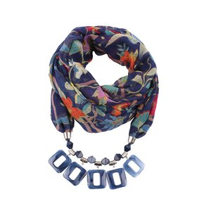 Resin Pendeloque Cut Ring Scarfs Neck Ornaments Necklace Nation Wind Clothes Accessories Parts Decoration Fashion Mujer Flower scarves