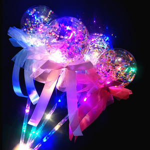 Wholesale Valentine's LED Balloon Magic Light Emitting Stick Kids Bowknot Luminous Toys Handheld Balloon For Birthday Wedding Party Ornaments B81402